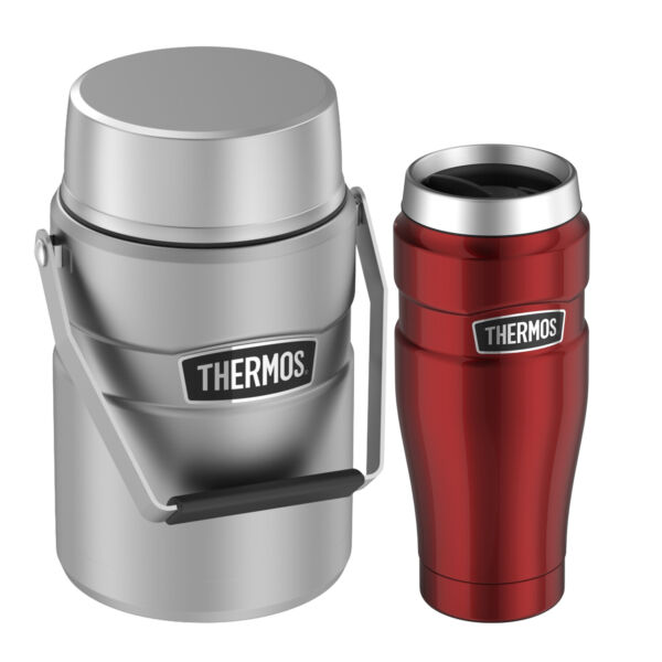 Thermos Stainless King Travel Tumbler 16 oz and Big Boss 47 oz Food Jar