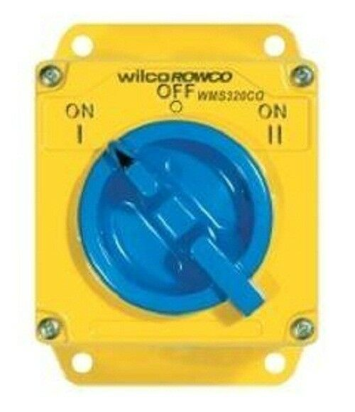 Wilco METAL CLAD 'A' SERIES CHANGEOVER SWITCH 3-Pole 415V Yellow- 20A Or 32A