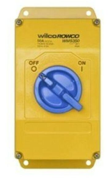 Wilco METAL CLAD 'A' SERIES ROTARY SWITCH 3-Pole 63A 415V SB BSMT Yellow