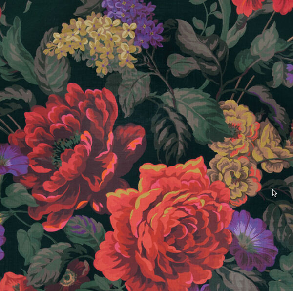 DESIGNER SHABBY ROSES & IRIS CHINTZ LINEN FABRIC 10 YARDS BLACK RED CORAL GREEN