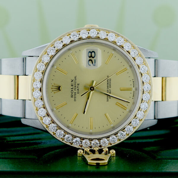 Rolex Date 2-Tone Champagne Index Dial 34MM Oyster 15223 Diamond Bezel