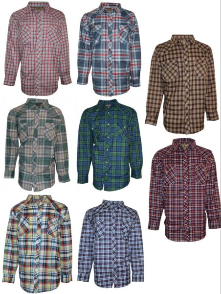 Western Shirt for Men- Big & Tall Casual Long Sleeve Plaid with Pearl Snaps