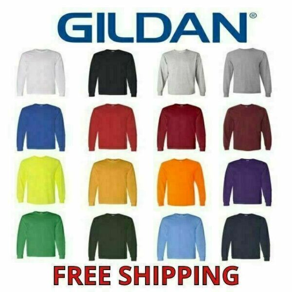 Gildan Heavy Cotton Men's Long Sleeve T Shirt Blank Plain Tee Basic 5400 S-3XL
