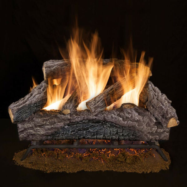 Natural Gas Log Set Vented Emberglow 24 in. Charred River Oak Naturally Stacked