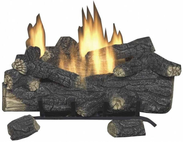 Vent Free Propane Gas Fireplace Logs With Remote Emberglow Savannah Oak 18 in.