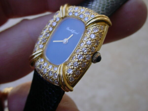 Vintage Bueche Girod 18K Gold Ladies Watch With Diamonds And Black Dial.