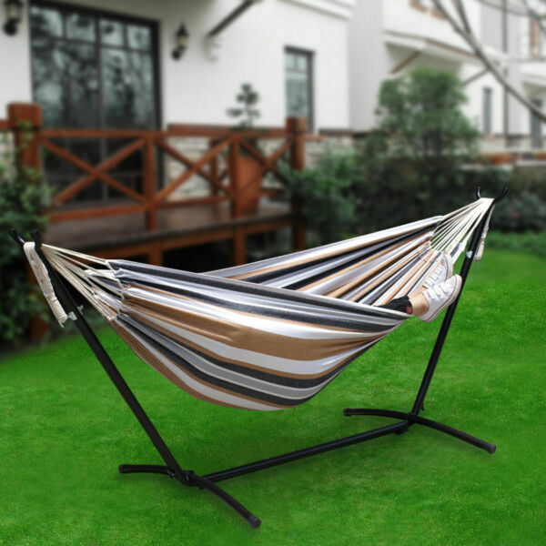 Double Hammock With Space Saving Steel Stand Waterproof Carrying Bag 2 Person $64.99