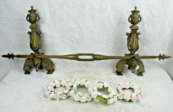 Bronze antique Fireplace andiron mantel set fleur de lys Caryatid satyr devil