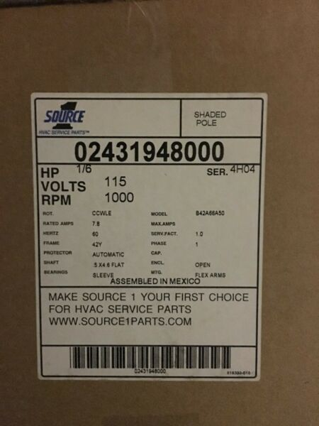 Coleman Evcon conquest furnace motor 02431948000 $105.00