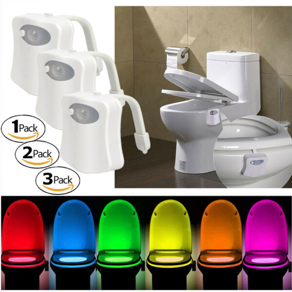 Toilet Night Lights Bowl Bathroom LED 8 Color Sensor Lamp Motion Activated Light