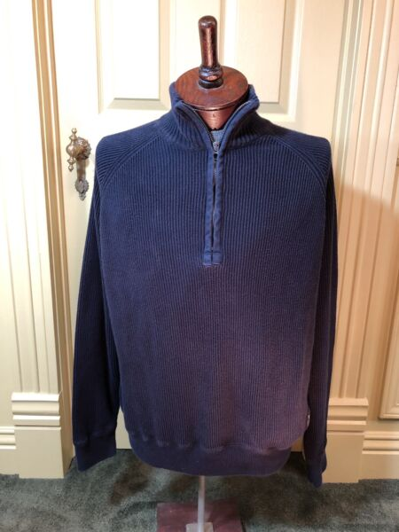VINTAGE POLO JEANS COMPANY MENS NAVY BLUE RIBBED HALF ZIP SWEATER XXL14 zip 12