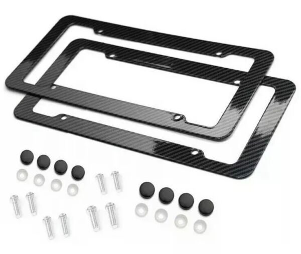 Black Car Carbon Look License Plate Frame Cover Front amp; Rear Universal $9.95