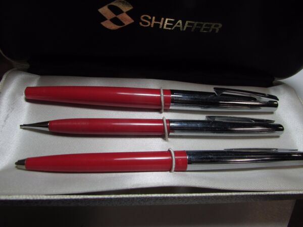 SHEAFFER PEN SET PENCIL FOUNTAIN PEN BALL POINT BIRO VINTAGE HARD CASE 1950 60