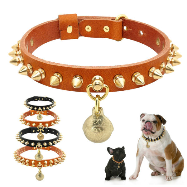 Cool Rivet Studded Spiked Dog Collar Leather for Small Large Dogs French Bulldog $9.99
