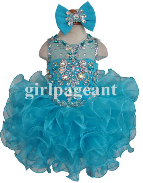 blue Infant toddler baby cupcake Pageant beading Dress EB205B