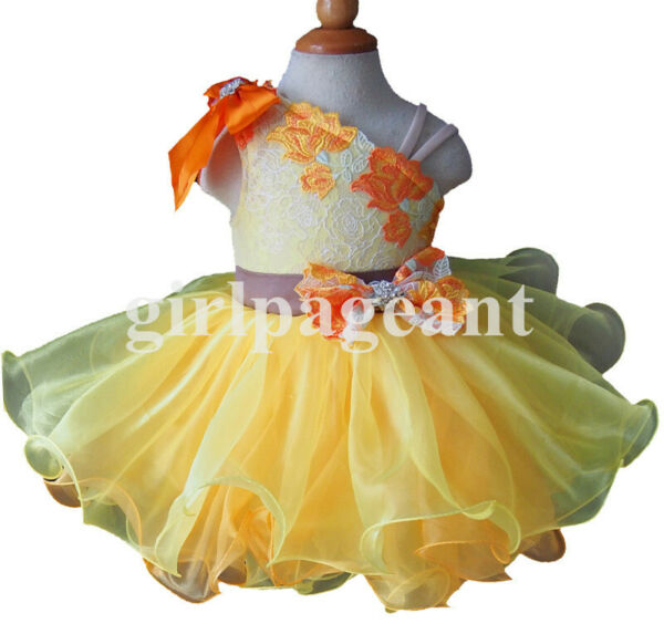 yellow Infant toddler baby cupcake Pageant beading Dress EB2008