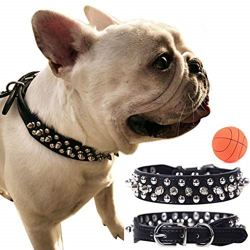 teemerryca Leather Dog Collars for Large Dogs Black Spiked Collars Adjustable GBP 24.32
