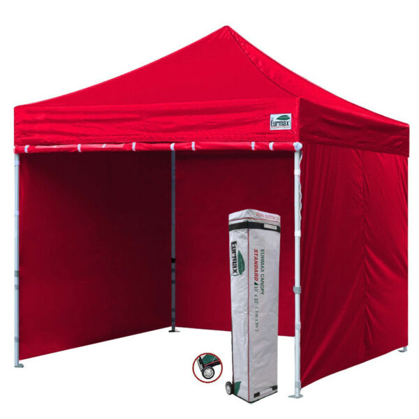 WATERPROOF Commercial 10x10 Red Pop Up Canopy Outdoor Gazebo Tent 4 Side Walls