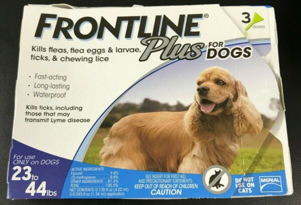 Frontline Plus 3 Dose Flea and Tick Control for 23 to 44lbs Dogs #7100 $26.88