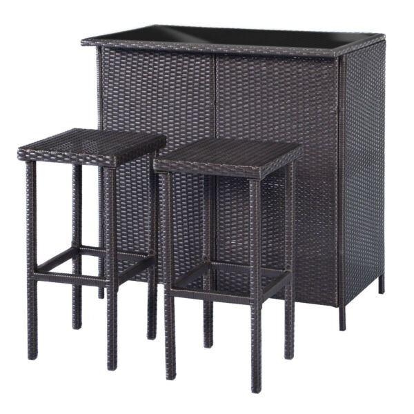 Patio Bar SetWicker Outdoor Table and 2 Stools3 Piece Patio Furniture Set 1201 $229.99