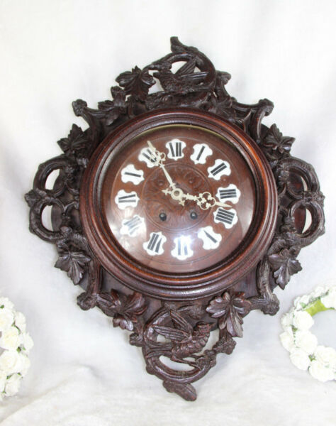 Antique XIX German black forest Wood carved Birds hunting wall clock
