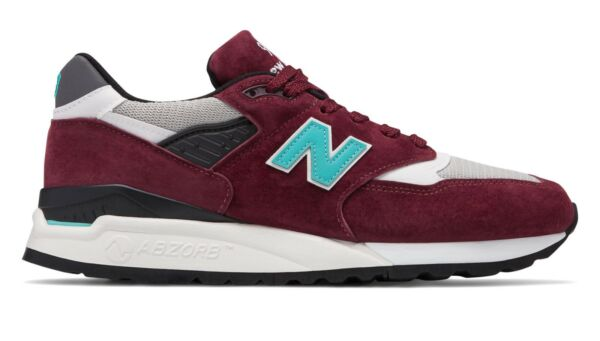 New Balance Men's 998 Made in USA Lifestyle Shoe M998AWC Burgundy with Blue