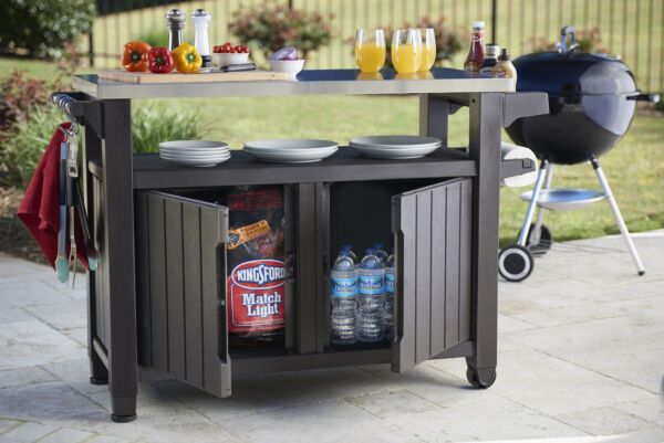 Outdoor Cooking Station Food Prep BBQ Table Grill Serving Cart Storage Cabinet