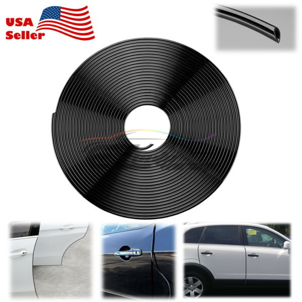 180quot; Long Black Car Door Edge Guard Molding Trim DIY Protectors Strip 15ft