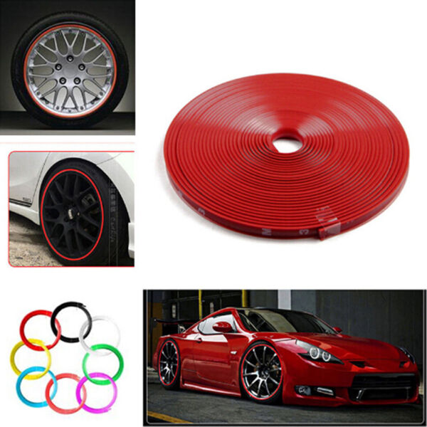 8M Pro Car Wheel Rim Edge Protector Sticker Tire Guard Line Rubber Strip Red QP