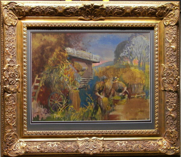 Vincent Brown (1901-2001) 1930 Rare Stunning Original Painting Bagging Produce