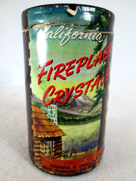 Vintage 1950s California Fireplace Crystals 12 full can fire pit crushed glass