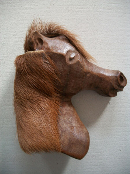 Vintage 1940's Carved Wooden Horse Head Figural Brooch  Pin Metal Clasp