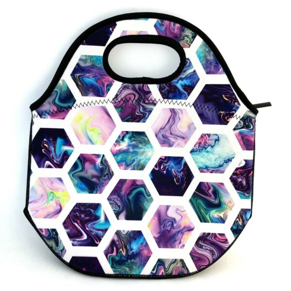 ** 60% OFF ** Honeycomb Purple Swirl Neoprene Lunch Bag with zipfront pocket