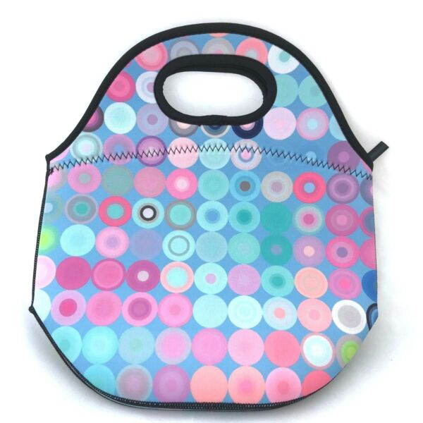 ** 60% OFF ** Blue with Dots Neoprene Lunch Bagwashable zipper closure