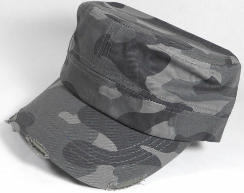 BRAND NEW Cadet Hat Charcoal Camo Camouflage Distressed Cap