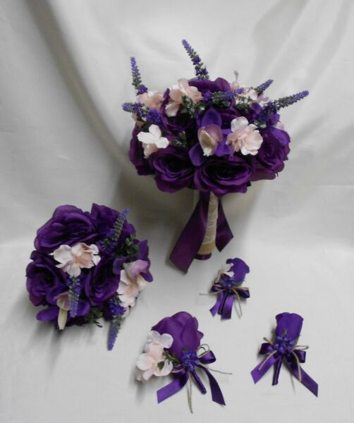 Rustic Package Silk Flower Wedding Bridal Bouquet Eggplant Lavender Lace Burlap