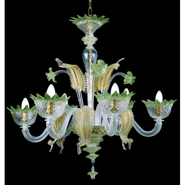 Muranese chendelier 6 lights crystal green gold