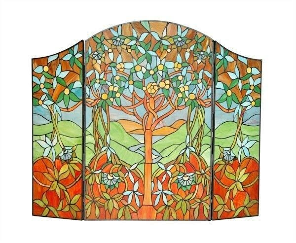 Fireplace Screen Tree Of Hope Tiffany Style Stained Glass 44quot; L x 35quot; H