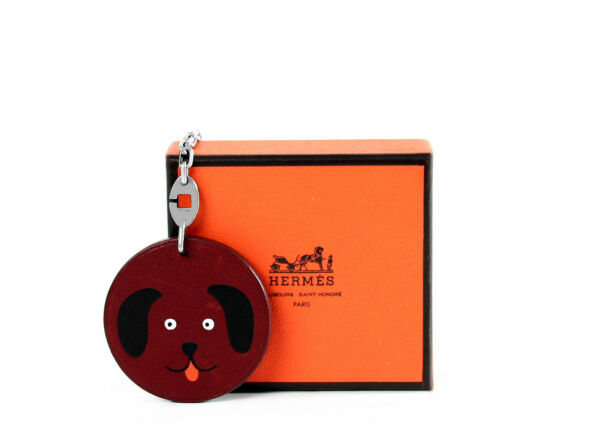Hermes Bag Charm Dog Sterling Silver and Leather Key Ring Rare $175.00