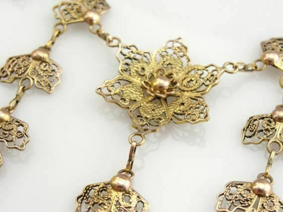 Vintage Floral Gold Filigree Festoon Necklace