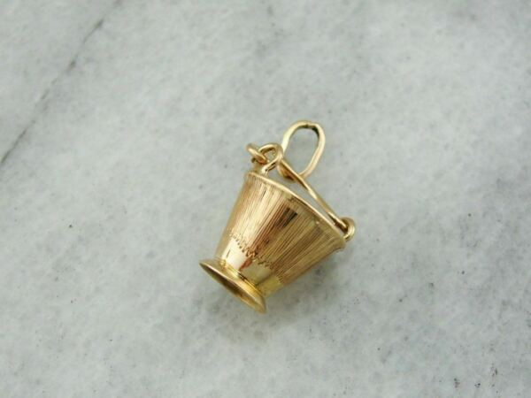 Sweet Rose Gold Pail or Bucket With Moving Parts and Opal Glass Interior