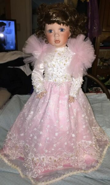 Beautiful Full Body Porcelain Doll by James Bernard - Pink Gown 228300