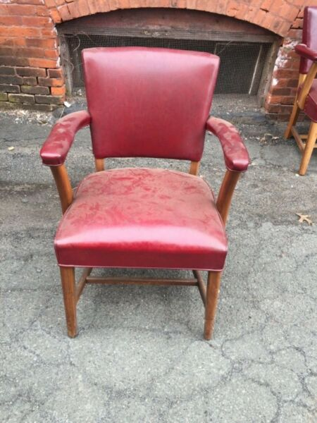 set 11 matching mid century modern office arm chairs red covers EXCELLENT cond.