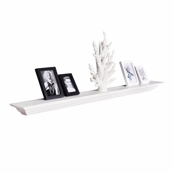 60 Inch Crown Floating Wall Shelf Painted White Fireplace Ledge - WELLAND