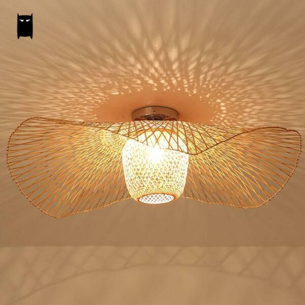 Bamboo Wicker Rattan Shade Cap Ceiling Light Fixture Rustic Pendant Lamp Bedroom