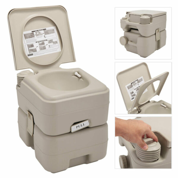 Portable Toilet  20L 5 Gallon Flush Travel Camping OutdoorIndoor Commode Potty