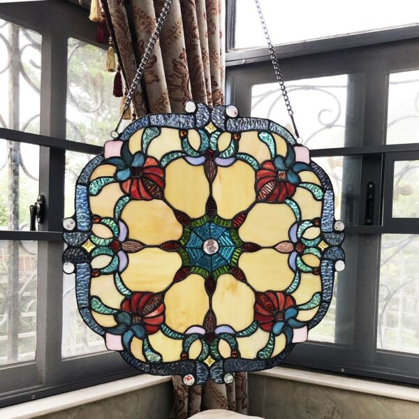 Stained Glass Window Panel 18quot; Wide Handcrafted Victorian Tiffany Style