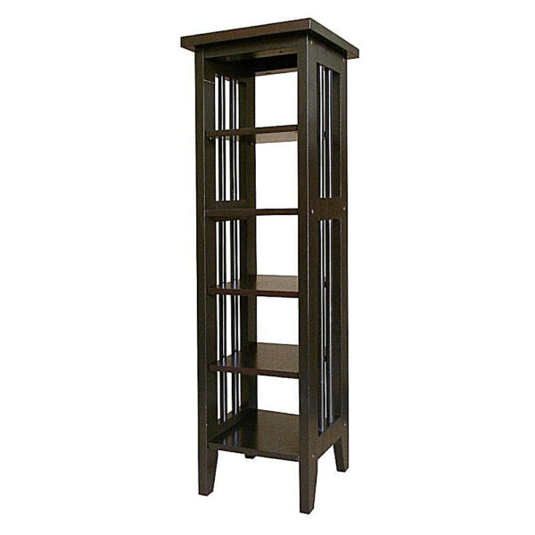 ESPRESSO FINISH SOLID PINE TALL AND SLIM PLANT STAND UTILITY TABLE