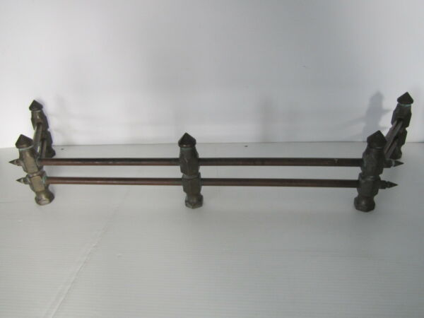 Antique  Vintage Fireplace Brass & Copper Fence Rail Bumper Andiron Grate Grill