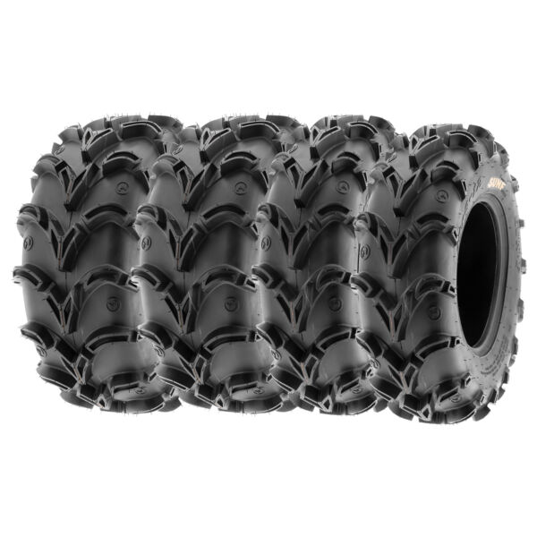 SunF 25x8-12 25x10-12  All Terrain ATV UTV AT Mud Tires 6 PR   A050 [Bundle]